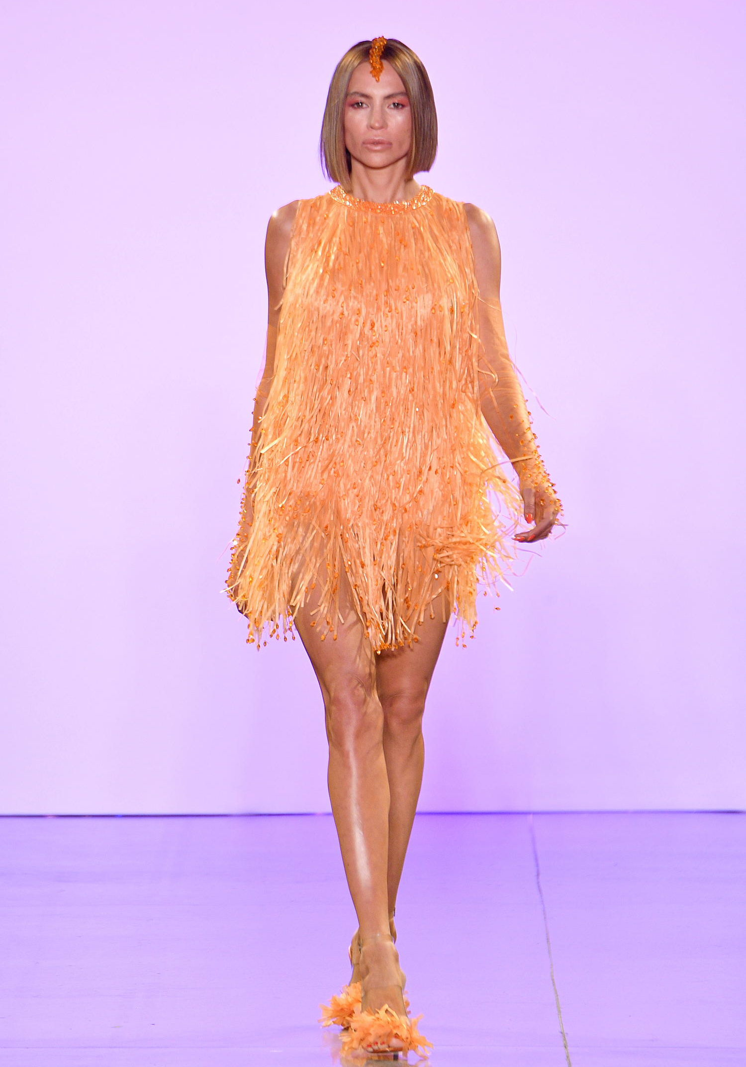 NEW YORK, NEW YORK - SEPTEMBER 05: A model walks the runway for Afffair S/S20 during New York Fashion Week: The Shows at Gallery II at Spring Studios on September 05, 2019 in New York City. (Photo by Dia Dipasupil/Getty Images for Afffair)